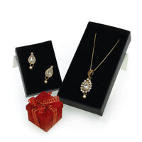 Simple Drop Pendant & Earrings Set Encrusted with Swarovski Crystals and pearls