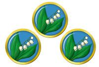 Lis Du Vallée Set de 3 Marqueurs de Balles de Golf