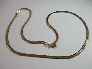"""GORGEOUS SPARKLY PRE-OWNED 18.25"""" HALLMARKED 9ct YELLOW GOLD FLAT CHAIN  8.6g"""