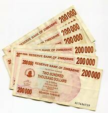 Zimbabwe 2008 200 000 Dollar Bearer Cheques G Condition X 7 Pieces