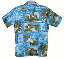Sz M Vintage 1970's HAWAIIAN ALOHA SHIRT Aqua TROPICAL PALM TREES Polyester