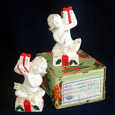 Napco Christmas Cherubs Salt Pepper Shakers MIB