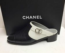 Chanel 16B CC Logo Quilted Leather Black White Clogs Mules Slides Shoes 39