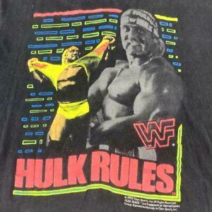 Vintage Hulk Hogan WWF Wrestling Titan Sport 1990 Hulk Rules Shirt Single Stitch