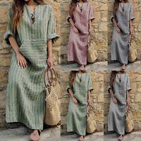 Women V Neck Long Sleeve Linen Kaftan Summer Dress Long Tops Plus Size Striped