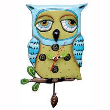 Allen Designs Old Blue Owl Clock nuevo/en el embalaje original lechuza péndulo reloj de pared reloj decoración