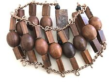 Vintage 60's Mod Wide Bracelet Brown Square & Round Wooden Beads Copper Chain