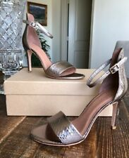 JOIE Jaclyn Metallic Leather Ankle Strap High Heel Sandals 37.5  7.5 SRP $295