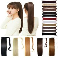 Wrap around long Ponytail Clip in Pony tail hair extensions for human new hair