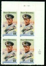 Us Plate Block Scott #3330 55c Billy Mitchell [4] Mnh