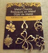 METAL CHARMS FINDINGS SILVER (6 PCS) FOUR LEAF CLOVER WISH BONE HORSE SHOE