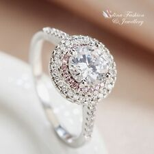 18K White Gold Plated Round Cut Pink Diamond Line Engagement Halo Ring