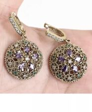 Antique Vintage 925 Silver Drop/Dangle Earrings with Amethyst and Topaz.