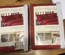 2 Pillow Shams Red  ByWater Wood Sky Bedding Collection Standard Shams