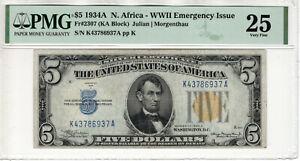 1934 A $5 SILVER CERTIFICATE NOTE NORTH AFRICA FR.2307 KA BLOCK PMG VF 25(937A)
