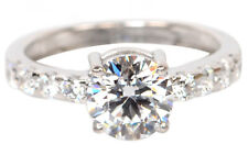 14KT Gold / 3.70 Carat D-Color Round Cut Solitaire With Accents Anniversary Ring