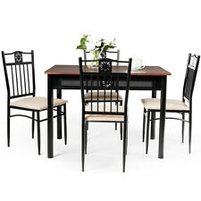Costway 5Pc Dining Set Wood Metal Table 4 Chairs Kitchen Furniture Breakfast Use