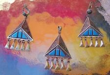 Awesome Modernist Turquoise & Sterling Silver Pendant & Earrings from Kazakhstan