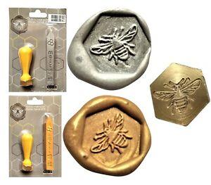 Wax Sealing Hexagonal BUMBLE BEE Stamp Craft Silver or Gold Wax Sticks  XWSH009G