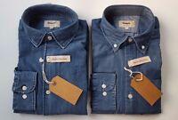 T M LEWIN Casual Blu Denim Manica Lunga Camicia di cotone S M L XL