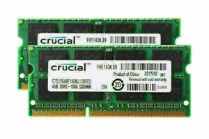 2PCS DDR3 4GB Crucial Laptop Memory 1066MHz 2Rx8 PC3-8500 SODIMM Notebook RAM #6