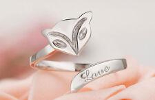 Silver Plated Women Girl Opening Adjustable Fox Finger Ring Brand New