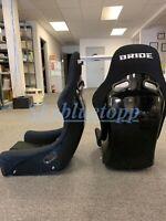PAIR 2 SEATS - BRIDE ZIEG Black Cloth FRP Fiberglass Seats Low Max JDM BUCKET