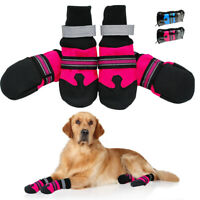 4pcs Reflective Dog Shoes for Winter Waterproof Medium Large Dog Snow Boots Pink