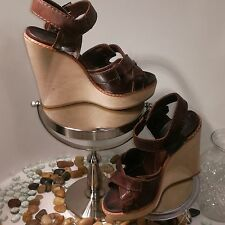 Chloe Italy Womens 39 US 8.5 Brown Leather Wooden Wedge Platforms