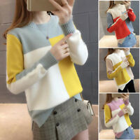 Korean Women Color Block Sweater Jumper Loose Thermal Top Blouse Winter`Pullover