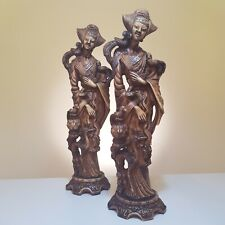 More details for vintage pair of large resin oriental figures - japanese geisha with birds, brown