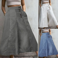 UK Womens Elastic High Waist Palazzo Trousers Culottes Flare Wide Leg Pants 8-26