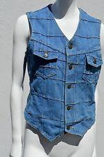 Vintage 70's Brittania Sportswear Patchwork Stitch Denim Jean vest top blouse M