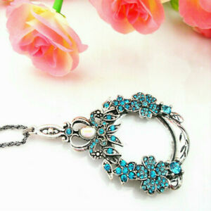 Long Chain Necklace Magnifying Glass Gift Pendant Rhinestone Flower Loupe