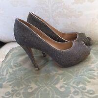 Badgley Mischka Silver Mesh Peep Toe Stilettos Heels Pumps SZ 6.5 M