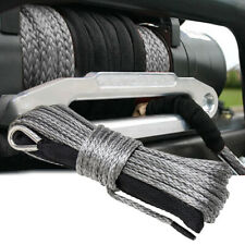 "1/4""x50' 10000LBS Synthetic Winch Rope Line Recovery Cable 4WD ATV Gray W/ Guard"