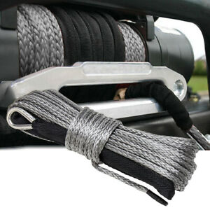 """1/4""""x50' 10000LBS Synthetic Winch Rope Line Recovery Cable 4WD ATV Gray W/ Guard"""