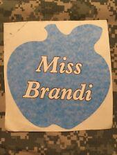 "Apple Decal Sticker Vinyl personalized with ""Miss Brandi"" 7"" Light Blue"