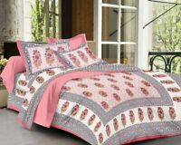 100% Cotton Hand Printed Indian Double Tapestry Bedsheet with 2 Pillow Covers H