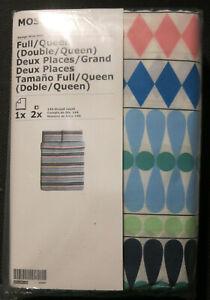IKEA Mossflox Duvet COVER Set MODERN Blue Pink Multi KING QUEEN FULL 0r TWIN