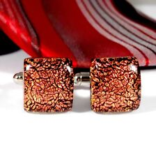 Red Dichroic Glass Cufflinks, Handmade Fused Glass, Christmas