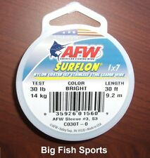 AFW SURFLON Nylon Coated Stainless Leader- Bright- 30lb Test 30' Length #C030T-0