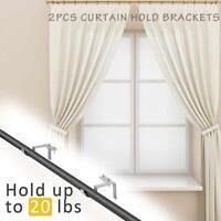 2Pcs New Curtain Rod Holders Pole Bracket Window Frame Hanging Hooks Heavy Duty
