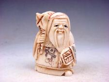 Japanese Detailed Hand Carved Netsuke Sculpture Old Man Bag Fan #07101805