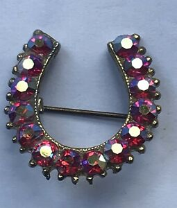 Ruby Red Aurora Borealis Lucky Horseshoe Vintage Brooch