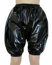 PVC Shiny Black Bloomers Pants Knickers Size L/XL Panties Roleplay Sissy Plastic