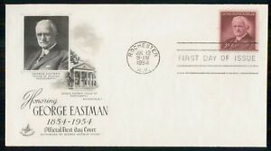 Mayfairstamps US FDC 1954 COVER GEORGE EASTMAN wwk91683