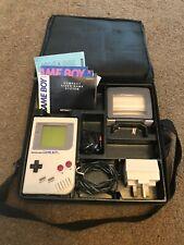 Vintage Working Game Boy in case, adapter, Light Magnifier 1989 Gameboy DMG-01