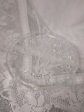 """Carmen Clear Glass large Platter 12.25"""" Diembossed with flowers and leaves"""