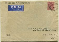 Great Britain to Iraq Baghdad via Cairo Egypt Airmail Cover Stamps Postage